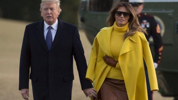 Потепление в отношениях и в одежде: Мелания Трамп восхитила ярким солнечным образом и нежностями с мужем