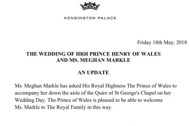 Официально: принц Чарльз поведет Меган Маркл к алтарю
